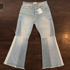 Frame Denim Le Panel Cropped Flare Leg Jeans 25